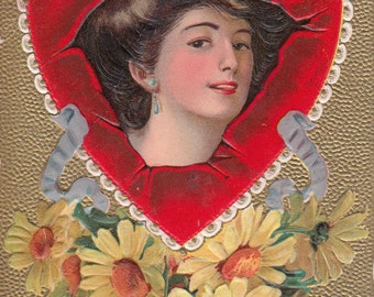 1910 Postcard To My Valentine Woman Inside Heart Daisies Embossed,Gold Background