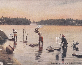 1910 Postcard Dhobies At Work In Colombo Lake  (Laundry)Ceylon Unused