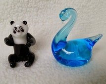 Vintage Glass Animals, Set of 2 - Black and White Glass Panda Figurine; Cobalt Blue Graceful Swan by Titan Art Glass, Signed by Artist 1977