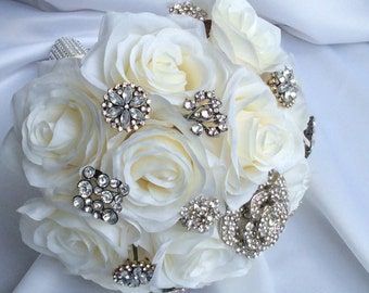 Brooch Bridal Bouquet-Ivory Silk Roses