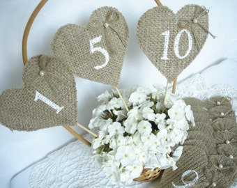 Set of 1-10 - Burlap Wedding Table Numbers , Rustic Wedding Table Numbers, Burlap Table Number Tags, Burlap Centerpieces