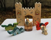 WALDORF WOODEN CASTLE Set with two Knights and three Dragons, customized shields / Handmade Wooden Toy Waldorf Inspired