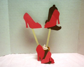 Cupcake Toppers-Toppers, Party Toppers, Cupcakes, High Heel, Cowboy Boot-CTP-1
