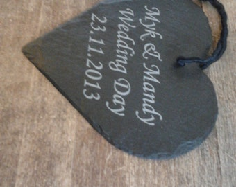 Beautiful Personalised Slate Heart - Perfect Gift for Valentines, Weddings, Bridesmaids WORLDWIDE DELIVERY