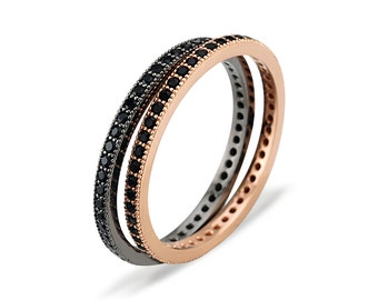 Eternity Band Ring with Black Spinels - Vermeil