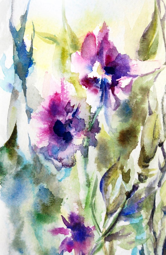 Abstract flowers watercolor painting art print by for Abstract watercolour flowers