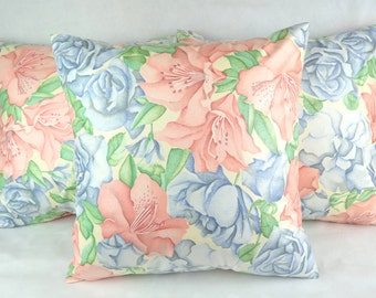 Helen's Roses Cushion Cover 43cm x 43cm Blue, Pink, Green, Cream Glazed Cotton