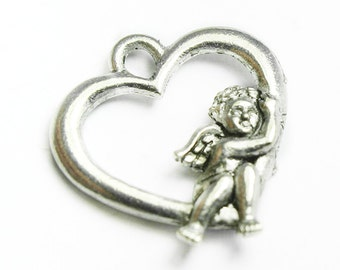 Two Sided Heart Charm with Resting Cherub, Pewter, Made in USA,  #Q116