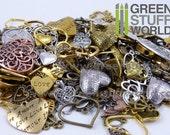 Set 85gr. - HEART Beads Mix - 40-50 units - sizes 0.5-6cm - Hearts Steampunk set