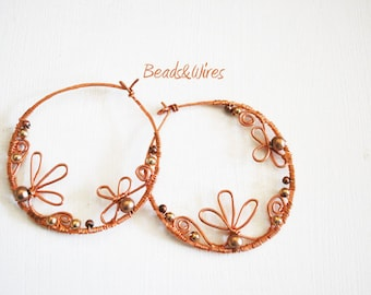 Flower Earrings and copper wire