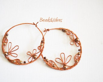 Earrings flowers and copper wire