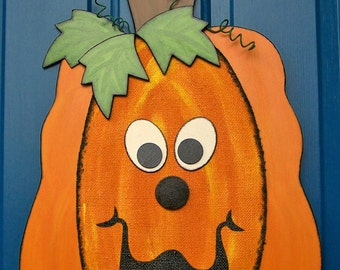 Nelson the Pumpkin, a Whimsical Fall Pumpkin Door Hanger