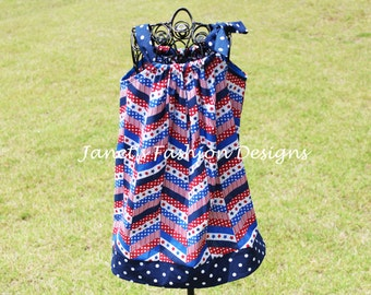 Patriotic 4th of July Zig Zag Pillowcase Dress - Girls Patriotic Dress - Memorial Day Fashion Outfit