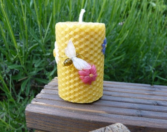 Hand-Rolled Natural Beeswax Pillar with Wax Flowers