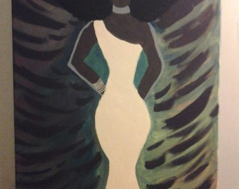 16x20 African-American woman acrylic painting on canvas