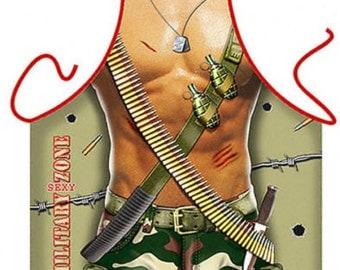 Military Man Flirty BBQ Kitchen Novelty Apron - Free Shipping