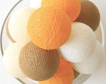 20 Loose Cotton Balls NOT INCLUDE String Lights – Party, Wedding, Decoration, Display Window - Vintage Autumn Orange Brown Cream
