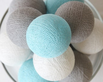Pastel Blue Grey White Cotton Ball String Lights for Bedroom, Kid's Room, Baby Room, Wedding, Patio Party, Fairy