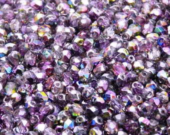 100pcs Czech Fire-Polished Faceted Glass Beads Round 4mm Magic Violet/Grey