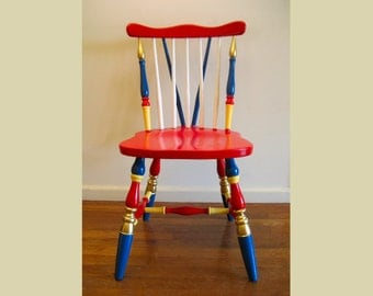 Hand Painted Vintage Chair in Classic Circus Colors