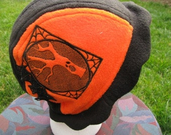 Scalloped Edge Fleece Bucket Hat with Haunted Tree and Beautiful Black Lace Bat