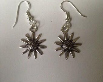 Silver 'Sunflower' earrings