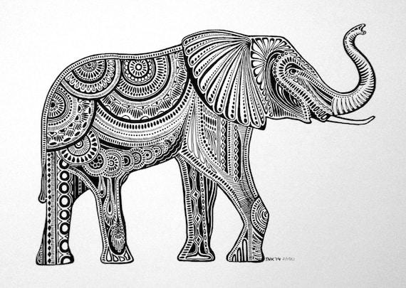 Items similar to Black & White Elephant Ink Drawing on Etsy