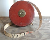 Vintage tape measure in leather case, industrial decor, I. & D. Smallwood tape measure, measuring tape, man cave, old tools