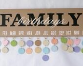 Family Birthday Board - Birthday Calendar - Birthday Sign - Celebrations - Family Calendar - Family Celebrations - Gift