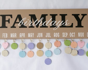 Family Birthday Board - Birthday Calendar - Birthday Sign - Our Family Birthdays - Family Calendar - Family Celebrations - Our Birthdays