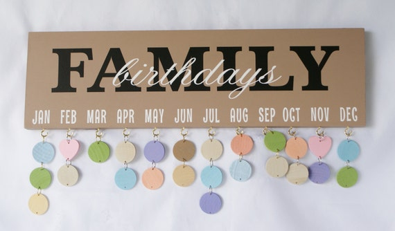 Family Birthday Board - Birthday Calendar - Birthday Sign - Celebrations - Family Calendar - Family Celebrations - Gift
