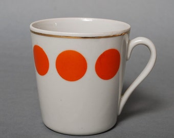 Vintage Porcelain Tea or Coffee Cup, Red Polka Dot  (PR050)