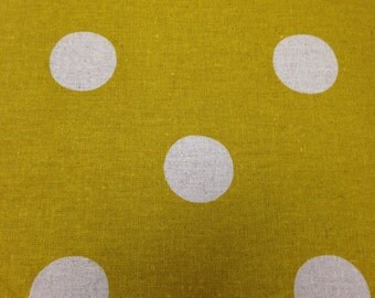 Chino Decoro Etsuko Furuya for Kokka One Half Yard Cut and Yardage Available Polka Dot Fabric Mustard Yellow White Polka Dots Hard to Find