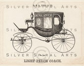 1800's Vintage Horse Drawn FAMILY COACH Printable Antique Carriage Digital Download For Collage Sheets, Transfers Pillows Wall Art Clip Art