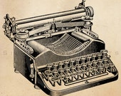 Vintage Typewriter Illustration Printable 1800s Antique Print Typewriters Instant Download Image Clip Art Retro Black and White Drawing ZS