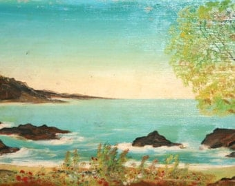 Vintage Seascape landscape Oil Painting