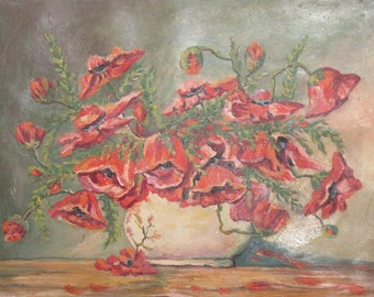Still Life Poppy Flowers Antique Oil Painting