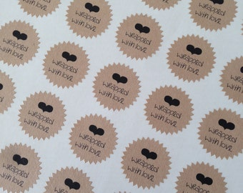Stickers (10 pieces) starburst 2,5 cm Wrapped with love (D01)