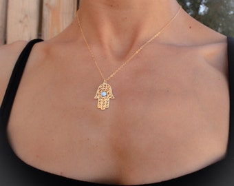 Opal hamsa necklace, gold Hamsa necklace, gold hand necklace, Delicate gold necklace, gold hand blue opal necklace, opal jewelry
