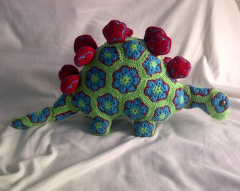 Handmade, crochet toys dinosaur, African Flower, Amigurumi