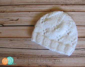 Flower Lace Beanie Knitting Pattern - Newborn