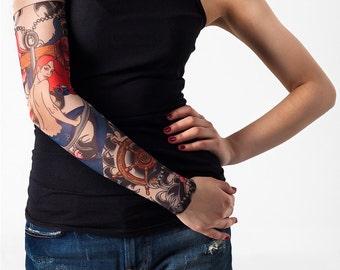 Unisex CORAL SIREN Mesh Tattoo Sleeve, Temporary Tattoo, Fake Tattoo, Party accessories, Bridal Tattoo, Mermaid Halloween, Mermaid Costume