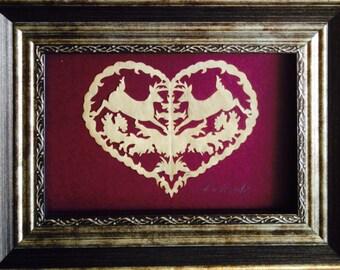 "Deer in Heart, ORIGINAL, Handmade Paper Cutting, Scherenschnitte, 3x5"""