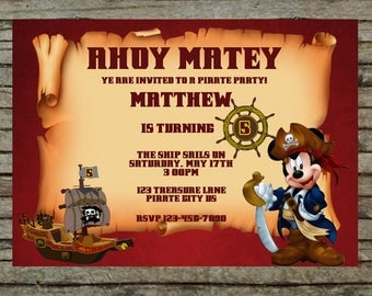 Mickey Mouse Pirate Birthday Invitation