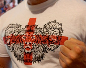 St George's Cross Three Lions England T-shirt - wear with pride!