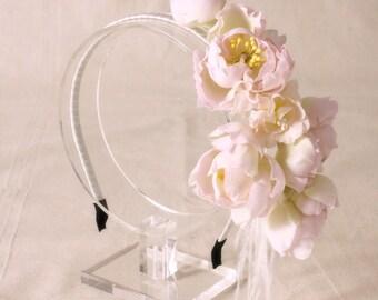 Bridal silk flower headband, headpiece - Flower headband, Ready to Ship
