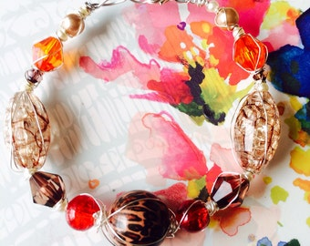 Beautiful Silver Hand Wire Wrapped Summer Orange & Red Bead Bracelet