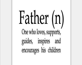 Father Definition of Dad Black & White Typography Print - Dad Print - Black and White Art Father Print - Black and White Bedroom Art