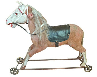 Antique French Children's Toy Horse
