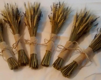 Wheat And Lavender Bouquets Dried - - Wheat and Lavender Bouquet, Wholesale, Brides and Bridesmaids Lavender Bouquets